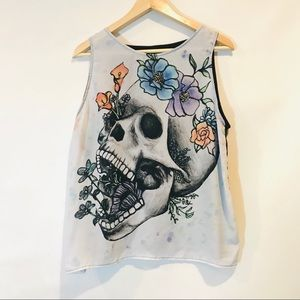 Hot topic floral skull tank